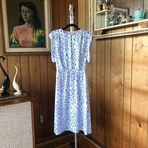 Vintage 1980s Purple & White Geometric Dress